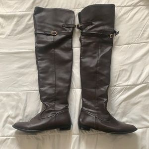 Thigh high flat boots size 10. Leather imitation